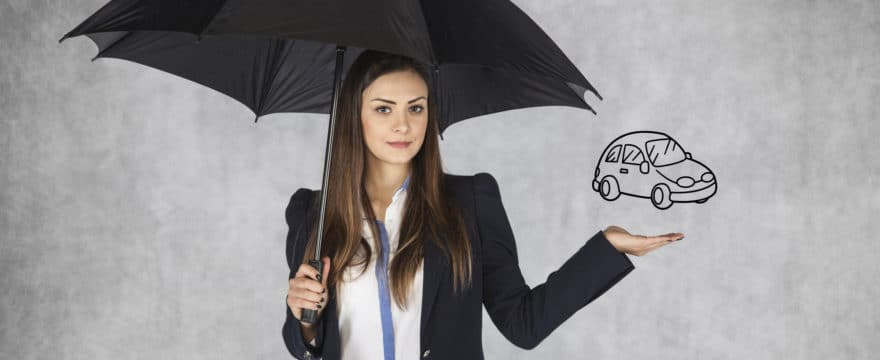 Woman With Umbrella Next to Car Icon